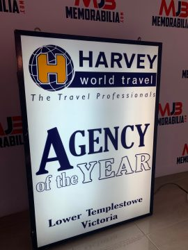 Vintage Harvey World Travel Light up Sign